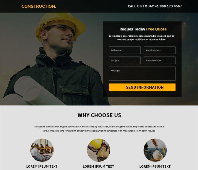 construction responsive landing Page design template