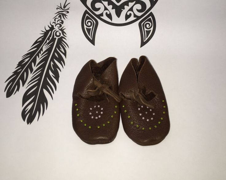 Delaware First Nation Moccasin New born baby Shoe by ifitsticks on Etsy