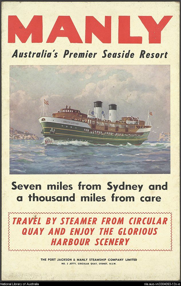 Manly, Australia's Premier Seaside Resort c1945 Sydney Harbour.  The S.S.South Steyne on her way to Manly Beach.  Memories!!