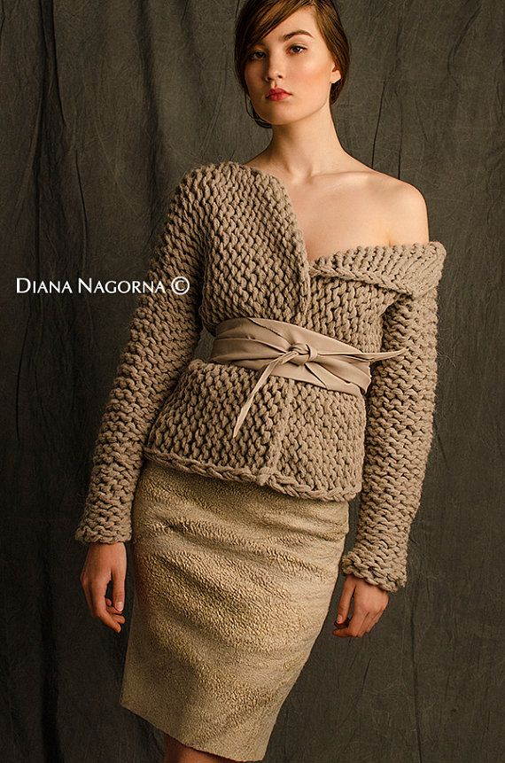 hand-knitted jacket pastel sweater ecru color by DianaNagorna