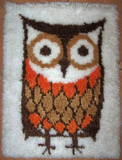 Classic 70s Owl, Classic Latch Hook Rug.