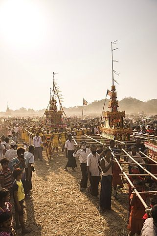 Mrauk U, Dung Bwe Festival for the passing of an important Buddhist Monk, Rakhine State, Myanmar (Burma), Asia