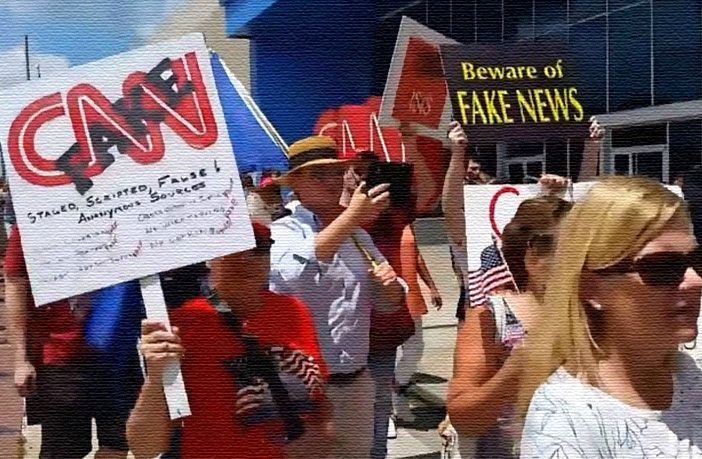 "ATLANTA, Georgia — More than 150 protesters charged the CNN headquarters in Atlanta, Georgia to share their disgust with the network's peddling of ""fake news"" against President Trump's administration.  By John Binder    With signs reading ""FNN #FakeNewsNetwork"""