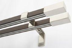 Innenlauf Gardinenstange 2-Läufig Holz-Stahl Stange , 400: Amazon.de: Küche & Haushalt