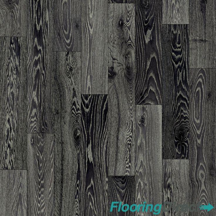 Black Fumed Oak Wood Non Slip Vinyl Flooring Lino Kitchen Bathroom Cushion Floor