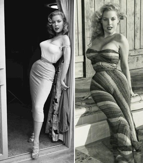 Beauty queen of 1950s Betty Brosmer, wow you don't see many waists that size anymore!