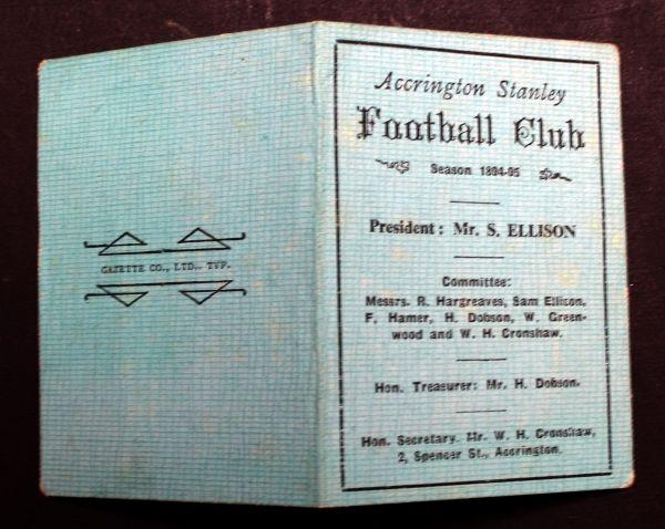 Victorian Accrington Stanley fixture card