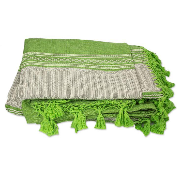 Mexican Handwoven Green Cotton Zapotec Bedspread (King) - Oaxaca Fields | NOVICA