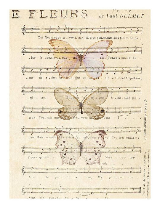 Цветные бабочки на нотных страницах.. Комментарии : LiveInternet - Российский Сервис Онлайн-Дневников