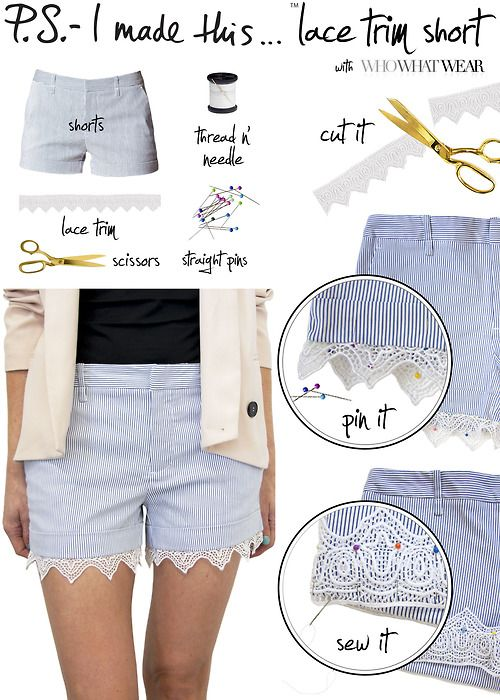#DIY lace shorts - To all the ladies in the place with style &...