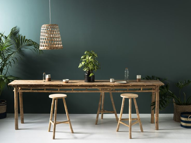 Long Console, stools and shade in Bamboo.  On the console Apoth Jar and Nima ceramics.