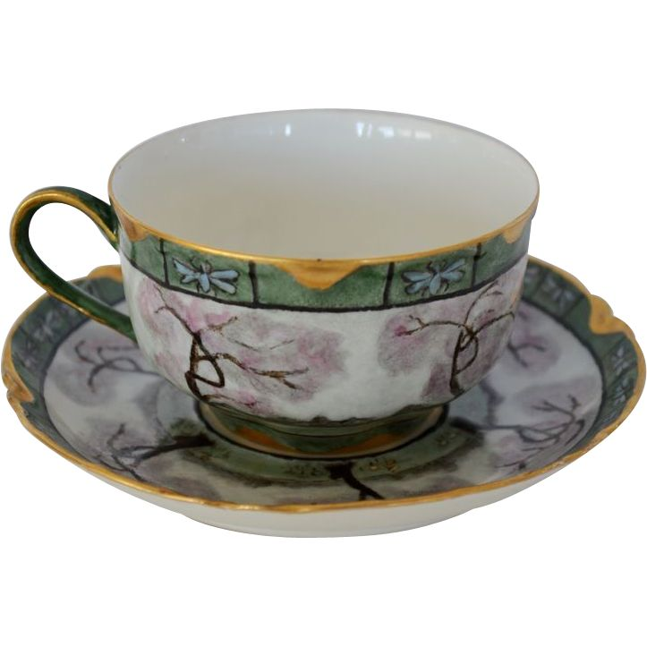 Gorgeous Limoges Porcelain Cup and Saucer Set ~ Hand Painted with ...