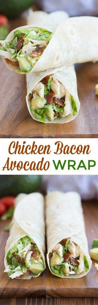 Chicken Bacon Avocado Wrap is one of my favorite easy dinner ideas! Lettuce, chicken, bacon and avocados tossed in a yummy dressing and layered inside a tortilla. | tastesbetterfromscratch.com