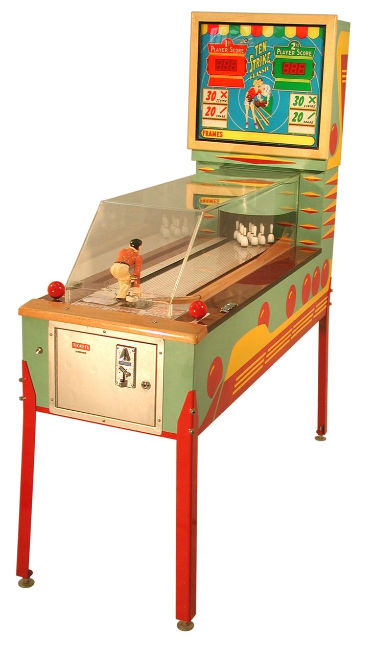 TEN STRIKE Manikin Bowler Arcade Game by Benchmark 2003, TEN STRIKE Manikin Bowler Arcade Game by Benchmark 2003 in original crate Rare    This coin operated 25 cent coin denomination arcade bowling machin..., https://www.gameroomshow.com/product/penny-arcade-machines/ten-strike-classic-pinball-bowler/, 6250,
