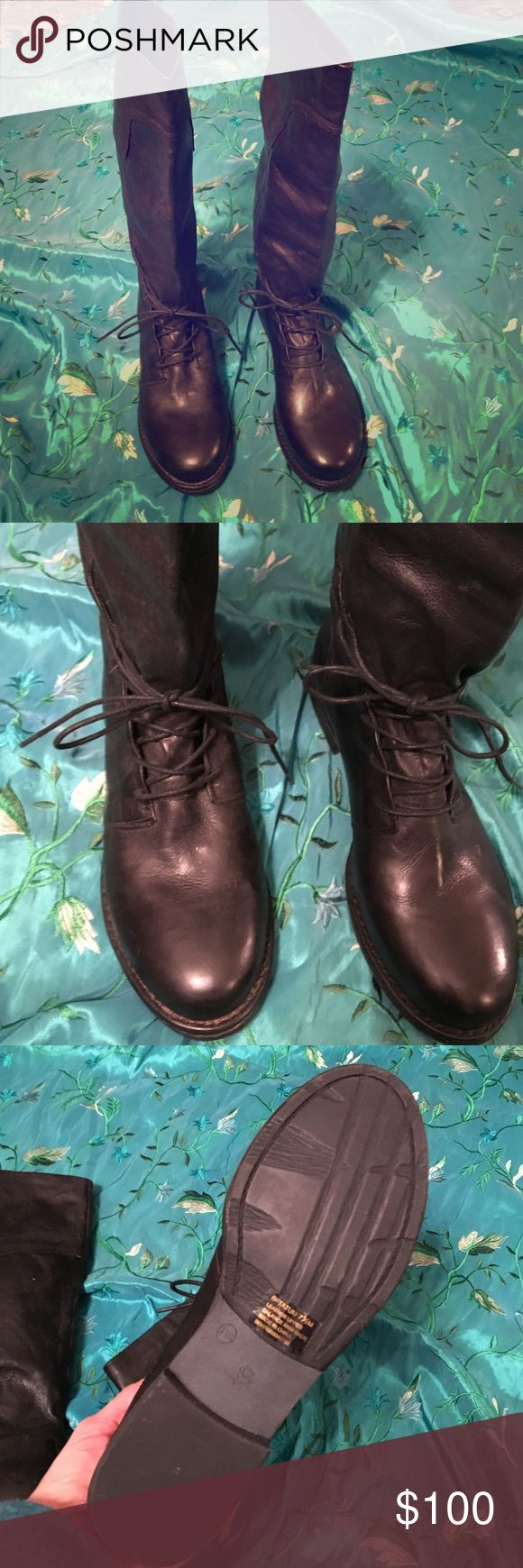 """B Makowsky boots NWOT Black leather boots . Shaft 14"""". Riding boot style never worn. b makowsky Shoes Lace Up Boots"""