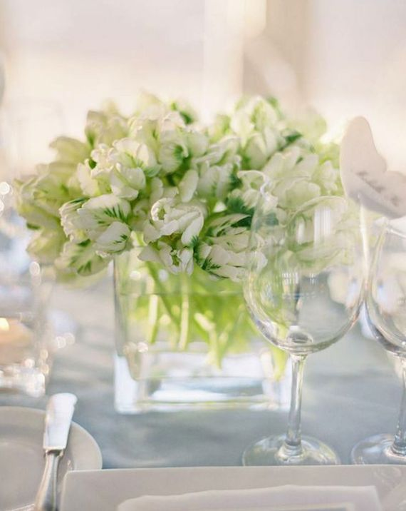 A beautiful parrot tulip centerpiece, perfect for a clean summer wedding or a crisp winter wedding!