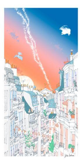 Arts Graphiques   Julie Zeitline   Ciel de Montmartre   Tirage d'art en série limitée sur L'oeil ouvert