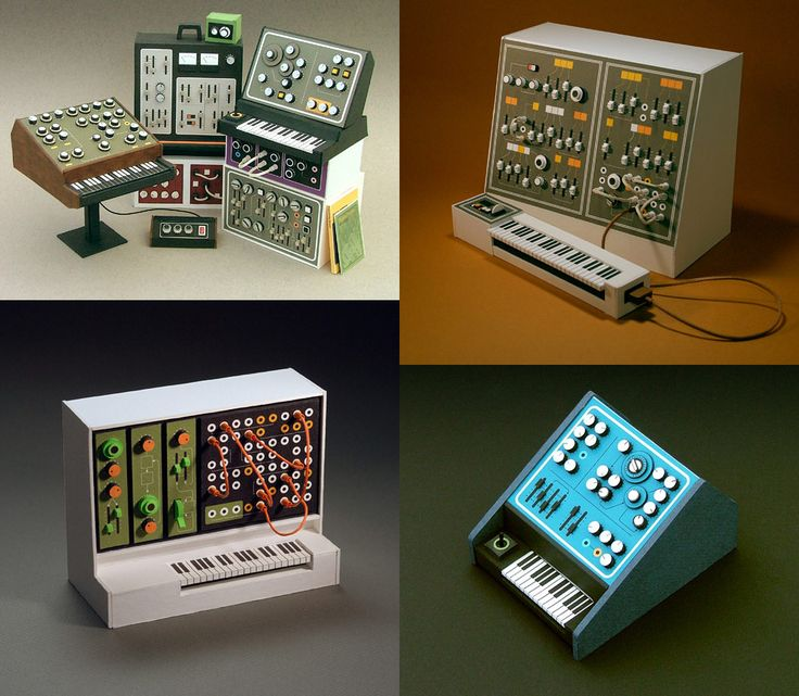 Produced between 2006 and 2009, Australian designer and illustrator Dan McPharlin's Analogue Miniatures are a marvel of papercraft. The tiny analogue synthesizers and pieces of recording equipment were pieced together with paper, framing mat board, string, rubber bands and cardboard, and appeare