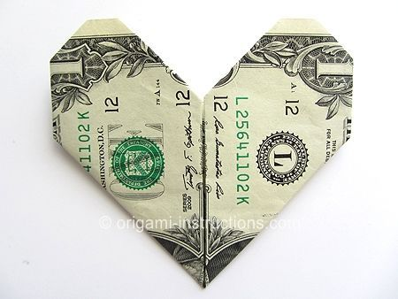 Easy Money Origami Heart 100's of different origami projects on this site