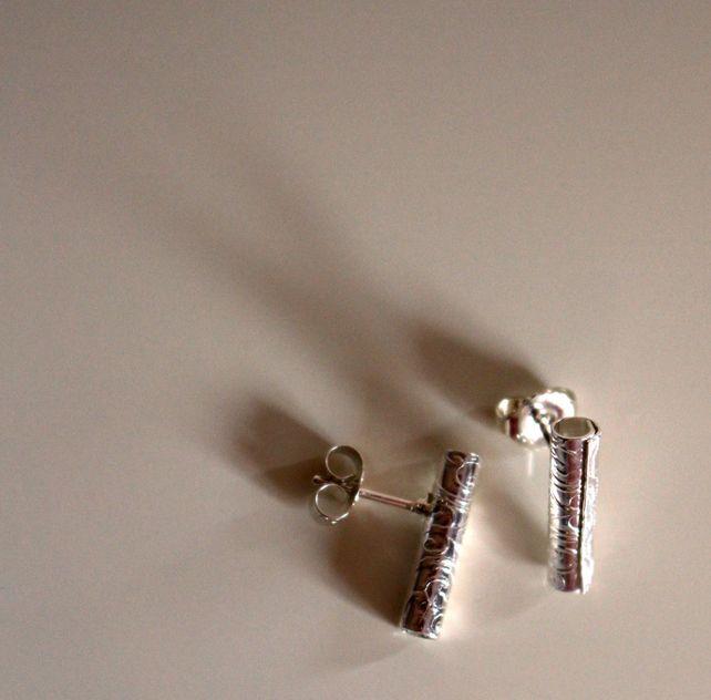 Vintage Scroll Sterling Silver Tubular Ear Studs - Handmade £26.00