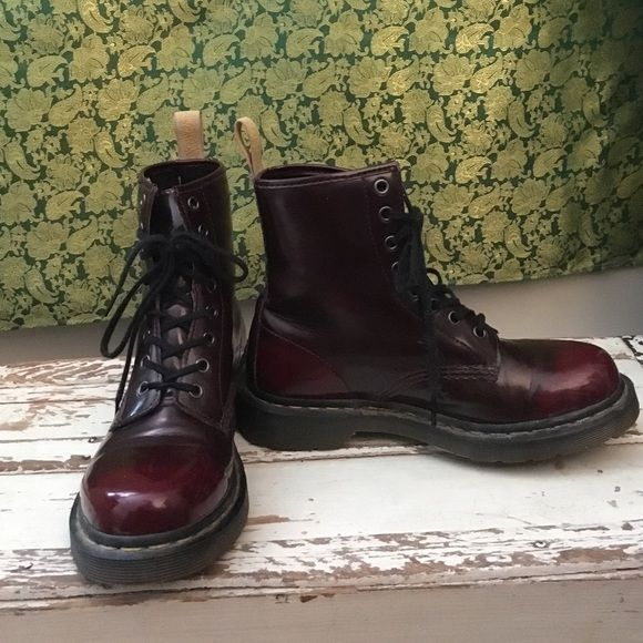 Women's Dr. Martens 1460 8-Eye Vegan Boot cherry 7 These vegan boots are adorable but too big for me. I've worn them a few times with two pairs of socks but it isn't working. Great burnished red color that is lighter at the toe and heel. Dr. Martens Shoes Combat & Moto Boots