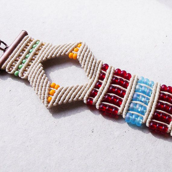 Bohemian micro macrame bracelet boho chic summer by MartaJewelry