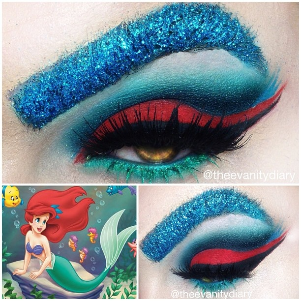 ARIEL THE LITTLE MERMAID who better to do ariel, but ariel? On the lid is sugarpill love+ , in the crease is macs surf usa, macs nautical navy, bitchslap cosmetics dark navy from the happy bitch palette, and sugarpill tako to highlight, lower lashes are wet n wild liner in 863 also used under lashes, mixed with Milani liquifeye liner in aqua. Lashes are @House of Lashes noir fairy and femme fatale. In brows is bitchslap cosmetics glitter from the bitch glitter tower (If you guys wa...