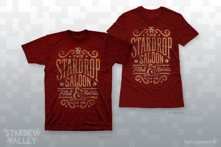 You'll learn a lot about the people of Stardew Valley from hanging around the Stardrop Saloon. For instance: Word around town is that Jon Kay is the master craftsman behind thisofficialStardew Valleydesign, whichForward Printingscreenprintedonto ultra-soft t-shirts from American Apparel and District. (Unisex is 50/50; women's sizes are 100% cotton.) Each one comes with afree bonus coaster.GarmentUnisex XS-2XAmerican Apparel BB401Women's XS-4XDistrict Made DM104LUnisex…