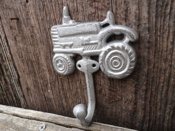 Rustic Farmhouse Wall Hook, Silver Tractor Theme Wall Decor, Boys Room Workshop Hook, Cast Iron Garden Hook, Bath Towel Hook, Key Hook