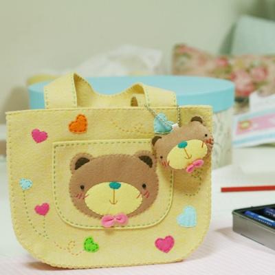 Felt teddy bear purse / Nallelaukku huovasta