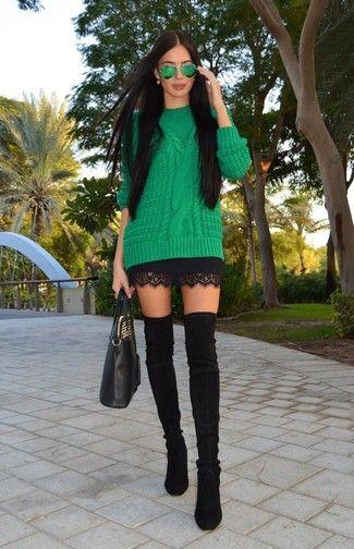 Grüner Strickpullover, Schwarzer Spitze Minirock, Schwarze Overknee Stiefel aus Wildleder, Schwarze Shopper Tasche aus Leder für Damen
