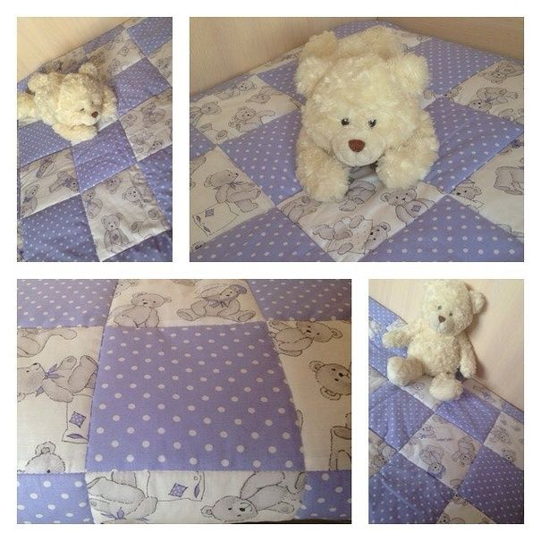 Ручная работа Детское лоскутное одеяло Ми-ми-мишки