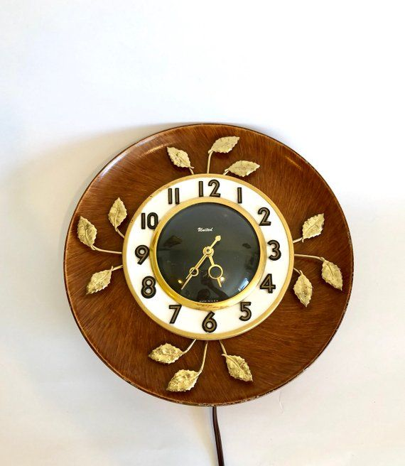Mid Century United Wall Clock Electric Wall Clock Gold Leaves Vintage Clock Made In Usa Wall Clock Electric Wall Clock Vintage Clock