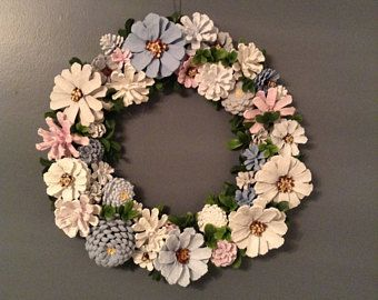 Blue-Gray-Pink Pine Cone Wreath