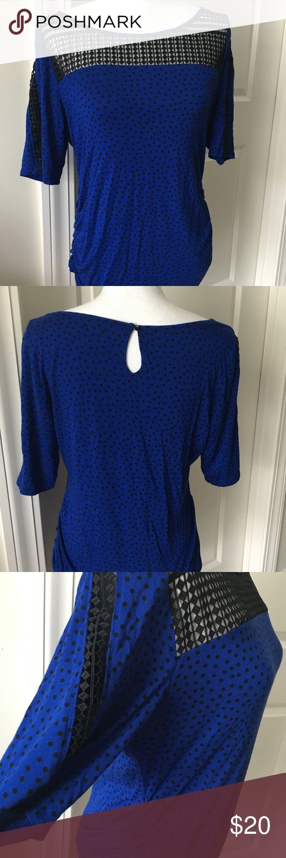 Motherhood Maternity short sleeve top Motherhood Maternity shirt sleeve blue top, Lacey design around the neck and arms, size large, only worn a few times Motherhood Maternity Tops Tees - Short Sleeve