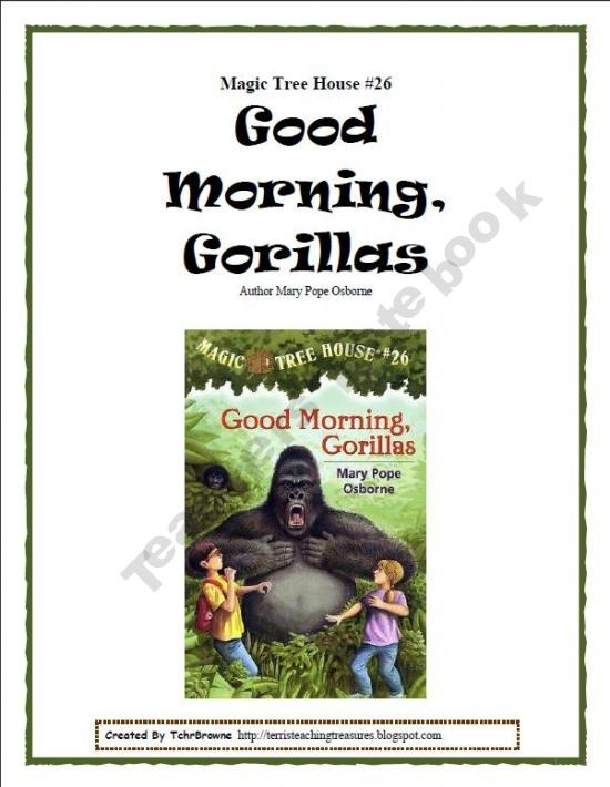 Author Of Magic Treehouse Books Part - 20: #26 Magic Tree House- Good Morning, Gorillas Novel Study