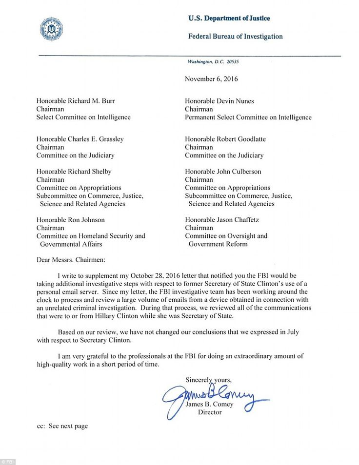 fbi will not change decision regarding hillary clinton emails comey sent this letter announcing the finding after examining newly discovered