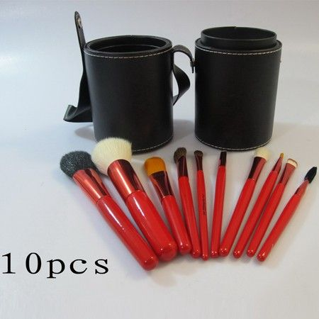 MAC Red 10 Pcs Brushes Set With Black Bucket Cosmetics