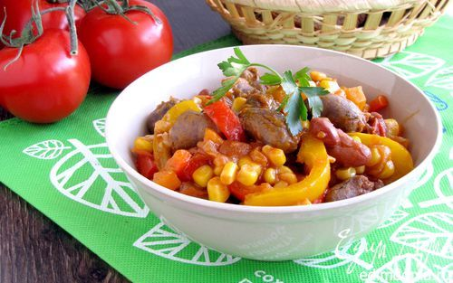 Рагу из куриных сердечек в мексиканском стиле | Кулинарные рецепты от «Едим дома!»