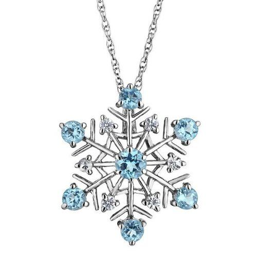 Amazon.com: Swiss Blue Topaz and White Sapphire Snowflake Pendant: Jewelry