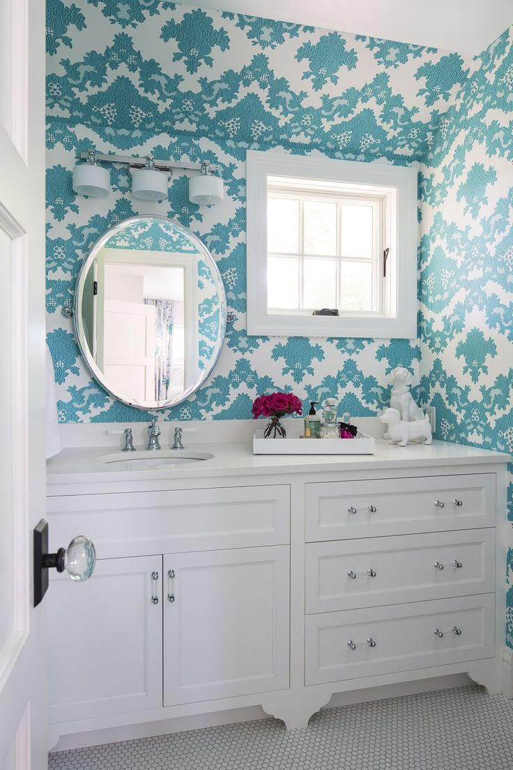 177 best beautiful bathrooms images on pinterest bathroom ideas gorgeous white and turquoise bathroom with sloped ceiling and walls clad in flocked turquoise wallpaper over white penny tiled floors
