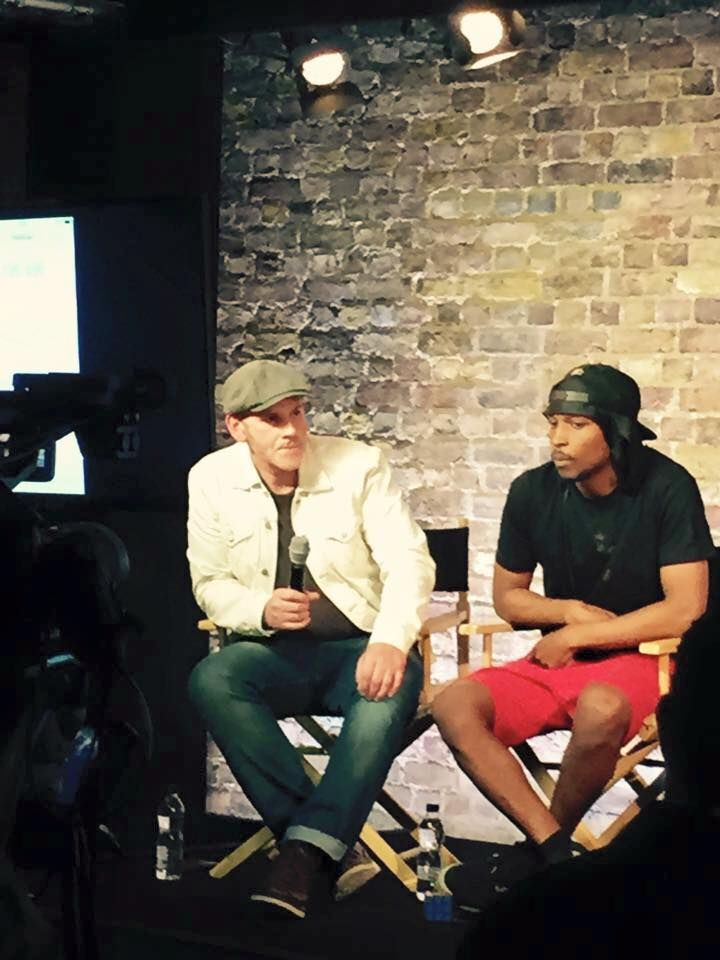Smithers with Jme the rapper talking Skepta about furniture designs and the fancy shopping app, at the apple store Covent Garden London
