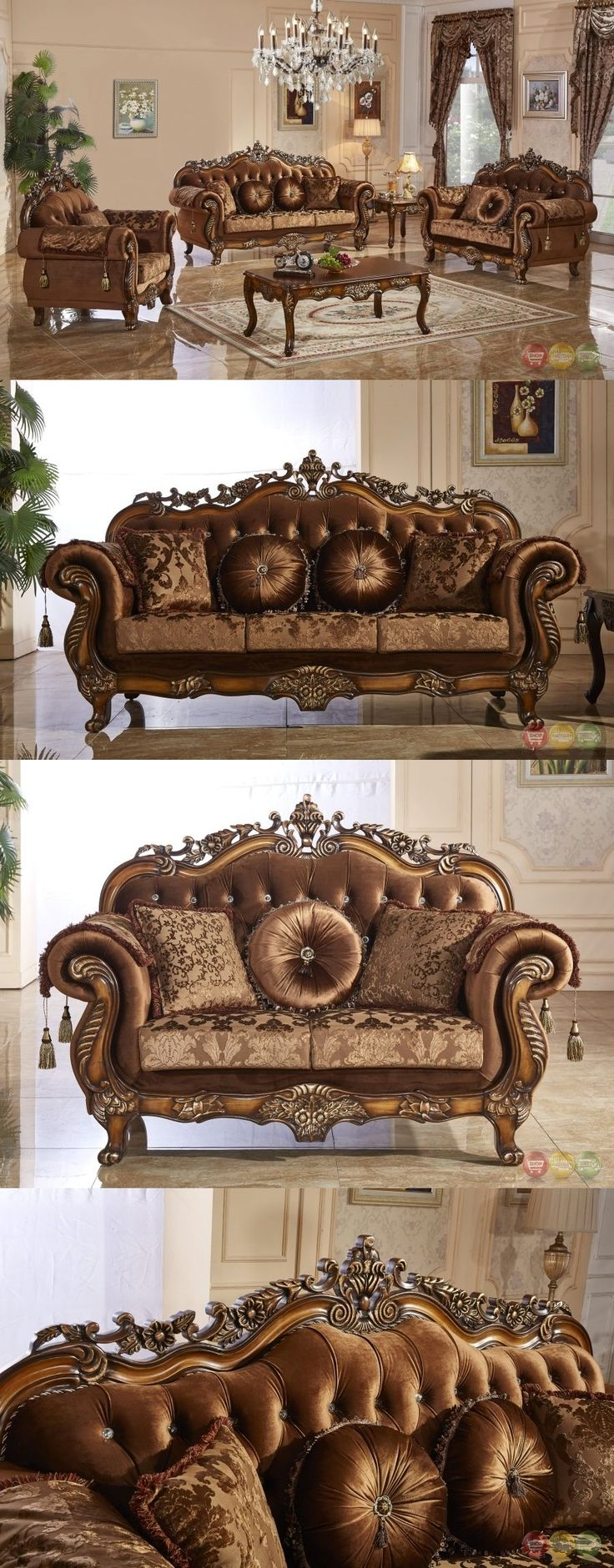 furniture: Traditional Style Formal Living Room Furniture Brown Sofa Set Carved Wood Frames -> BUY IT NOW ONLY: $2498 on eBay!
