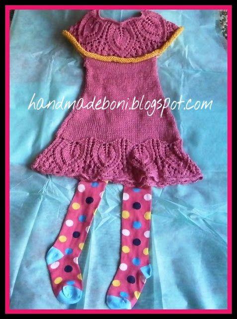 HandmadeBoni: Różowa sukienka - bezrękawnik dla dziewczynki (116...
