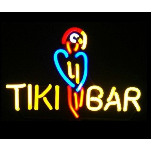 TIKI BAR W/ PARROT Neon Sign Light Sculpture Man Cave Bar Wall U0026 Tabletop  Mount