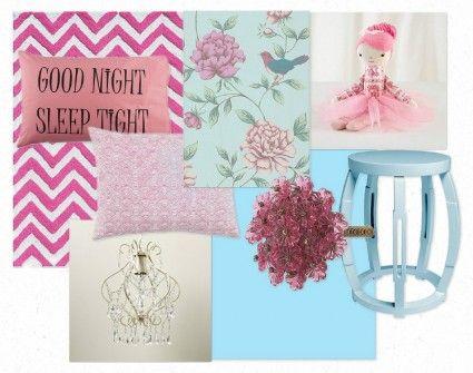 E-Design, Inspiration Board, girl's bedroom, pink, blue