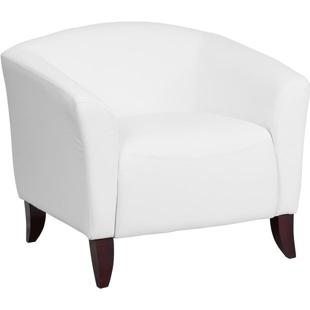 iHome Radisson White Leather Office Comfortable Reception/Guest Chair-FL5004