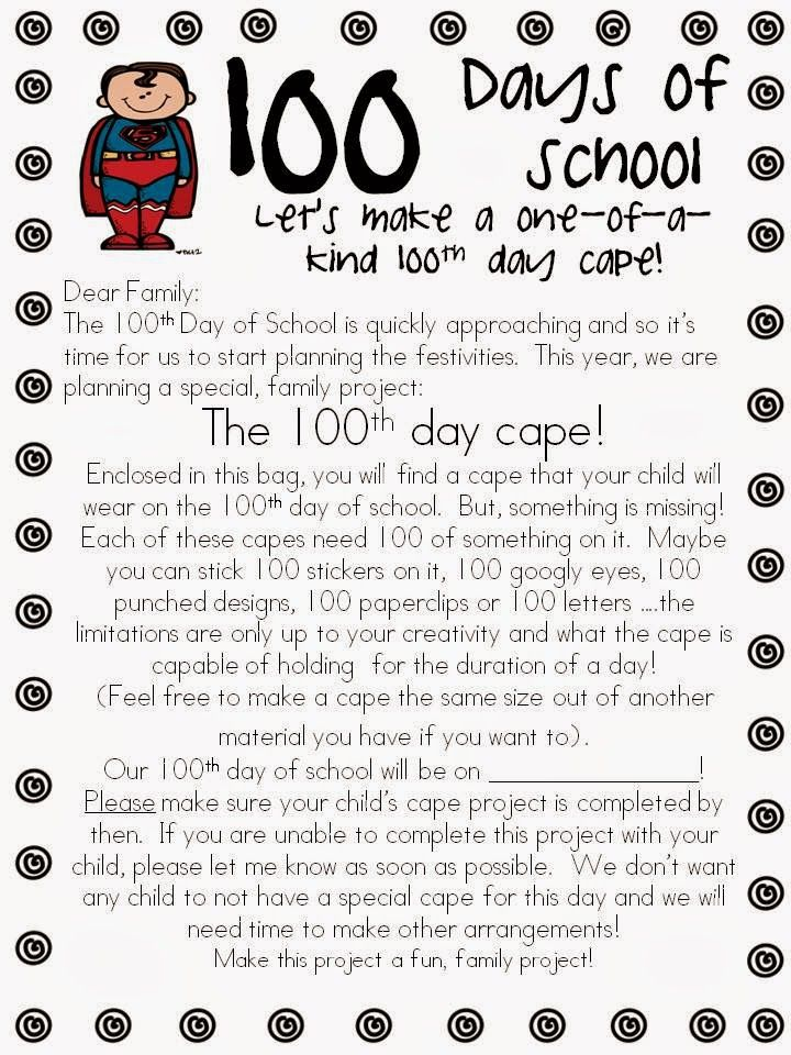 100th Day of school activities:  Mrs. Miner celebrates 100 Day with a superhero theme.  She has lots of great ideas in this blog article including a 100th Day superhero cape.  Cute idea!