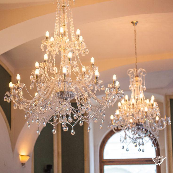 Wranovsky crystal chandeliers in National Café in Prague.
