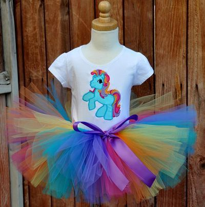 Girls My Little Pony Rainbow Bright Birthday Tutu Set